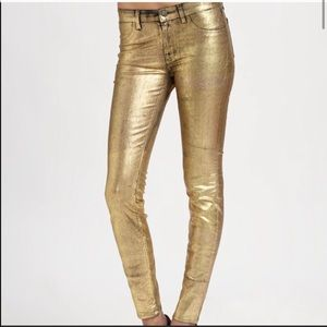 J Brand Super Skinny Gold Metallic Coated Jeans
